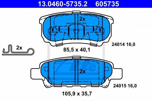 ATE 13046057352 Комплект тормозных колодок, дисковый тормоз
