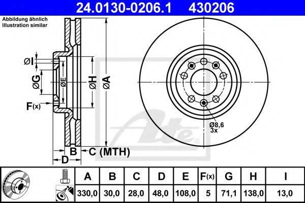 ATE 24013002061 Тормозной диск