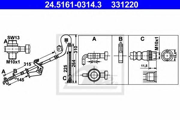 ATE 24516103143 Тормозной шланг