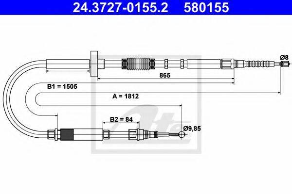 ATE 24372701552 Трос, стояночная тормозная система