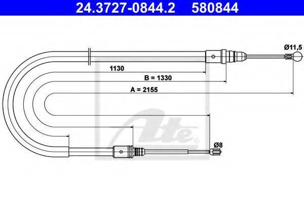 ATE 24372708442 Трос, стояночная тормозная система