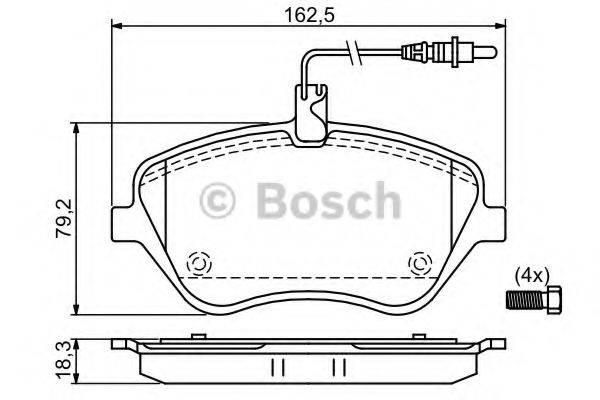 BOSCH 0986494098 Комплект тормозных колодок, дисковый тормоз