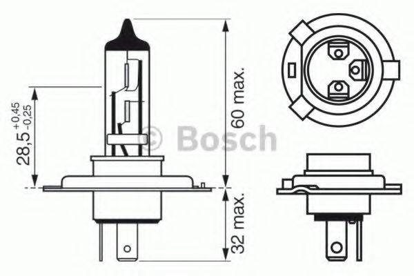BOSCH 1987302048 Лампа накаливания, фара дальнего света; Лампа накаливания, основная фара