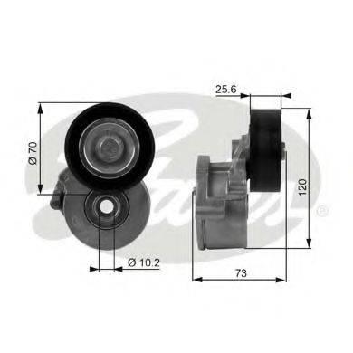 GATES T38237 Натяжной ролик, поликлиновой  ремень