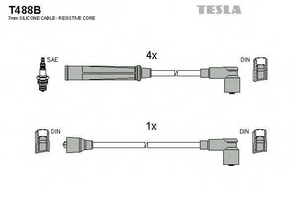 TESLA T488B Комплект проводов зажигания