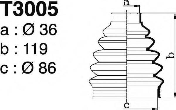 DEPA T3005 Комплект пылника, приводной вал