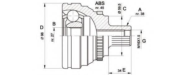 OPEN PARTS CVJ517410 Шарнирный комплект, приводной вал