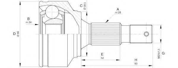 OPEN PARTS CVJ559410 Шарнирный комплект, приводной вал