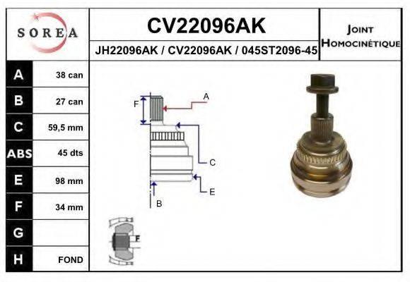 EAI CV22096AK Шарнирный комплект, приводной вал