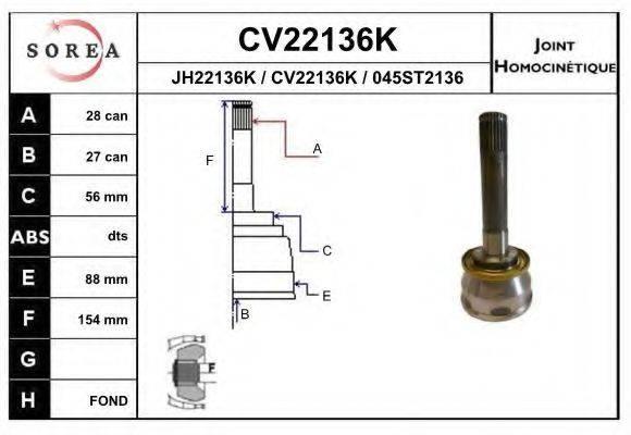 EAI CV22136K Шарнирный комплект, приводной вал