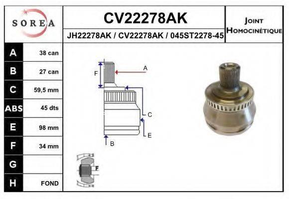 EAI CV22278AK Шарнирный комплект, приводной вал