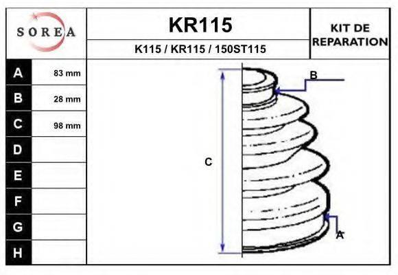 EAI KR115 Комплект пылника, приводной вал