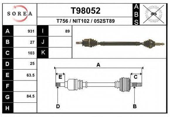 EAI T98052 Приводной вал