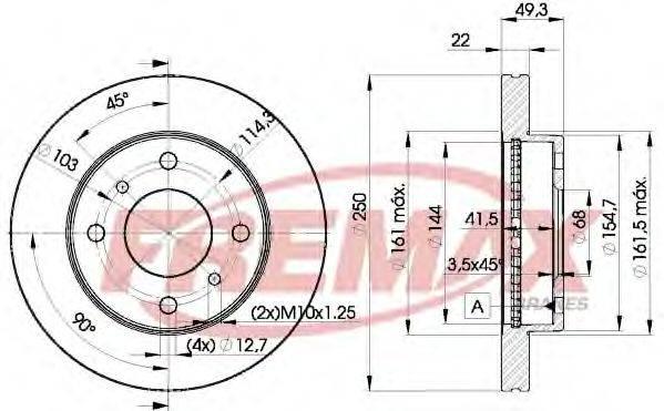FREMAX BD7450 Тормозной диск