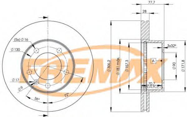 FREMAX BD6848 Тормозной диск