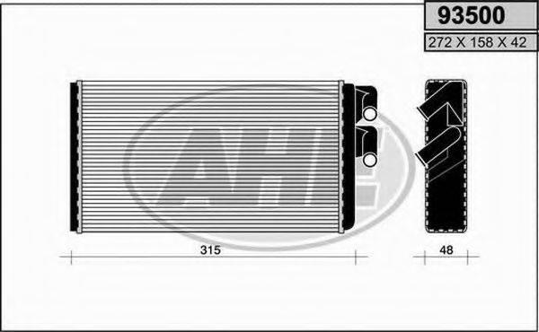 AHE 93500 Теплообменник, отопление салона