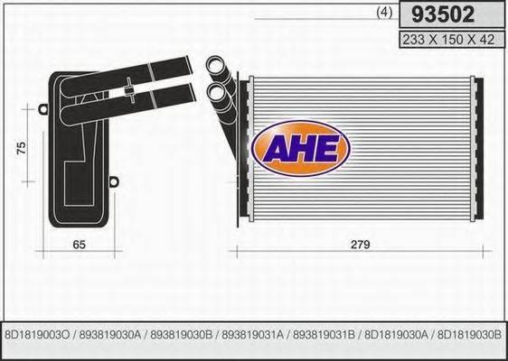 AHE 93502 Теплообменник, отопление салона