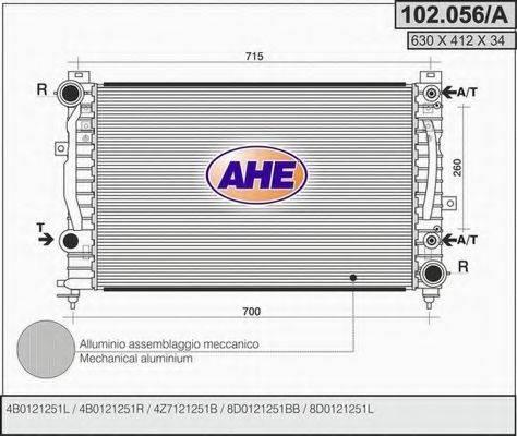 AHE 102056A Радиатор, охлаждение двигателя