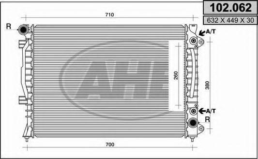 AHE 102062 Радиатор, охлаждение двигателя