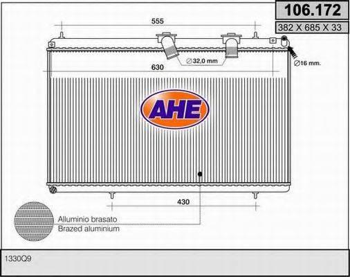 AHE 106172 Радиатор, охлаждение двигателя