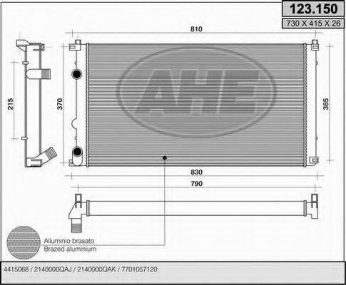 AHE 123150 Радиатор, охлаждение двигателя