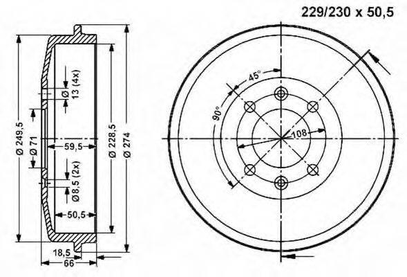 VEMA 800995 Тормозной барабан