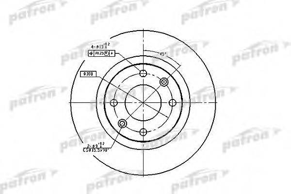 PATRON PBD1216 Тормозной диск