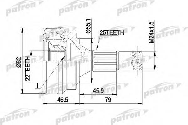 PATRON PCV1015 Шарнирный комплект, приводной вал