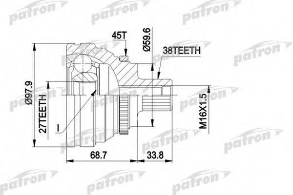 PATRON PCV1174 Шарнирный комплект, приводной вал
