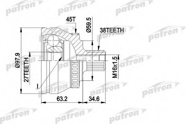 PATRON PCV1267 Шарнирный комплект, приводной вал