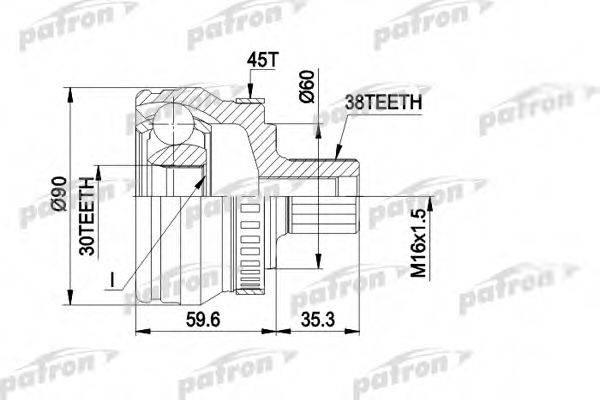 PATRON PCV1377 Шарнирный комплект, приводной вал