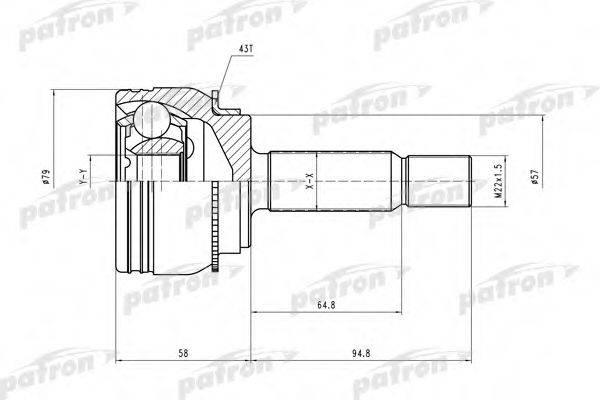 PATRON PCV2112 Шарнирный комплект, приводной вал