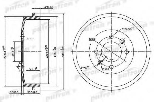 PATRON PDR1126 Тормозной барабан