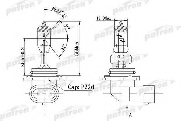 PATRON PLHB41251 Лампа накаливания, фара дальнего света; Лампа накаливания, основная фара; Лампа накаливания, противотуманная фара; Лампа накаливания, основная фара; Лампа накаливания, фара дальнего света; Лампа накаливания, противотуманная фара