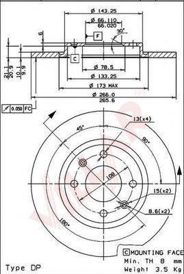 VILLAR 6280247 Тормозной диск