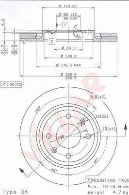 VILLAR 6280249 Тормозной диск