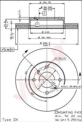 VILLAR 6281278 Тормозной диск
