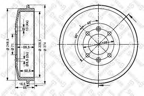 STELLOX 60253708SX Тормозной барабан