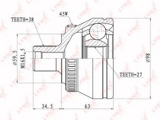 LYNXAUTO CO1202A Шарнирный комплект, приводной вал