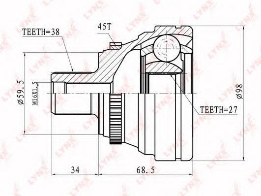 LYNXAUTO CO1220A Шарнирный комплект, приводной вал