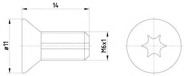 HELLA PAGID 8DZ355209121 Болт, диск тормозного механизма