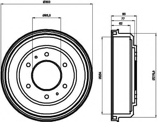 HELLA PAGID 8DT355302291 Тормозной барабан