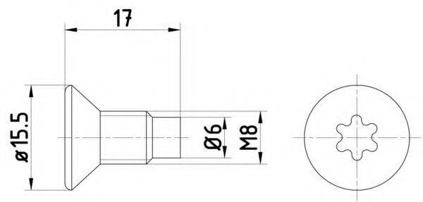 HELLA PAGID 8DZ355209041 Болт, диск тормозного механизма