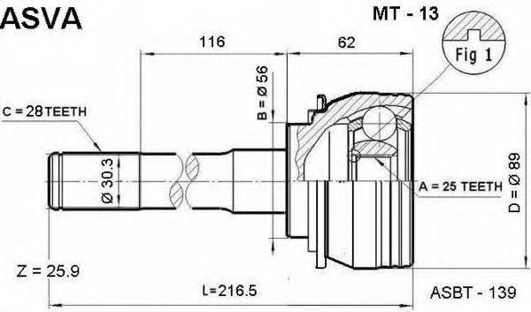 ASVA MT13 Шарнирный комплект, приводной вал