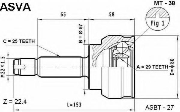 ASVA MT38 Шарнирный комплект, приводной вал