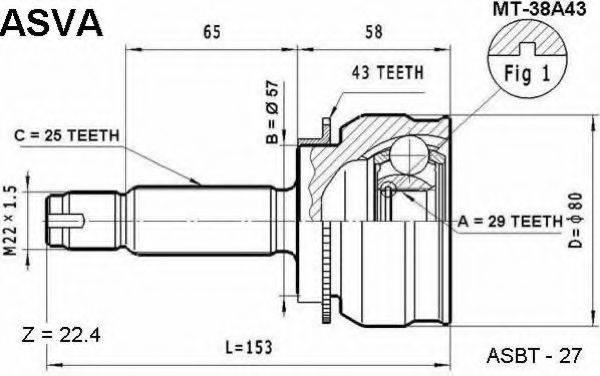 ASVA MT38A43 Шарнирный комплект, приводной вал