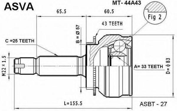 ASVA MT44A43 Шарнирный комплект, приводной вал