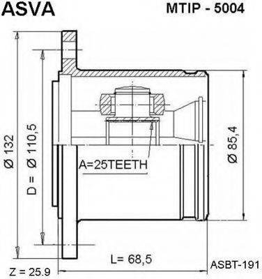 ASVA MTIP5004 Шарнирный комплект, приводной вал