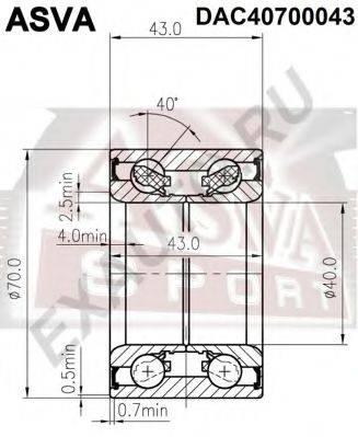 ASVA DAC40700043 Подшипник ступицы колеса