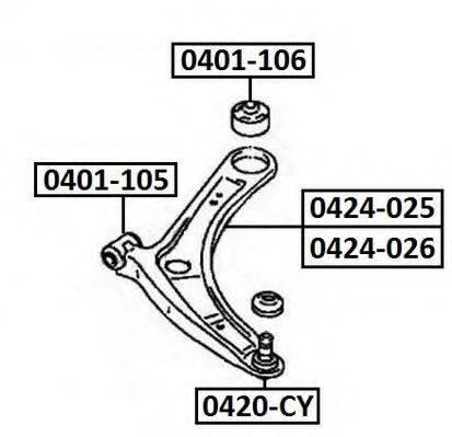 ASVA 0424026 Рычаг независимой подвески колеса, подвеска колеса
